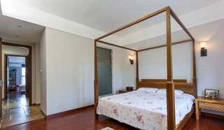 中式设计简约卧室四柱床装饰效果图