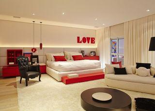 高雅红色新古典风格公寓室内装饰案例图