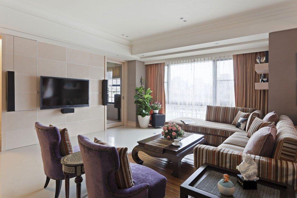 时尚混搭风格客厅布艺沙发装饰效果图