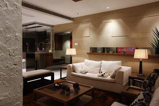 现代简中式风格客厅背景墙隔断装修