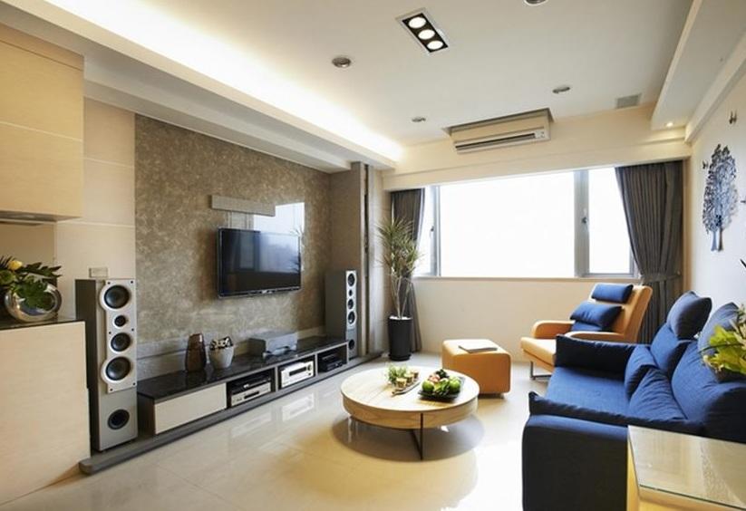 素色简约现代风格客厅大理石背景墙效果图