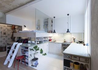 62平旧房改造北欧小公寓设计装修案例图片
