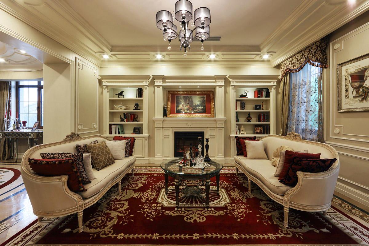 白色古典欧式客厅背景墙效果图