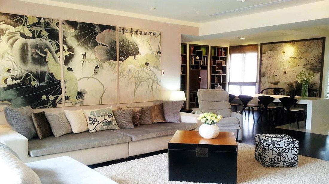 素雅复古时尚中式三居室家装装潢效果图