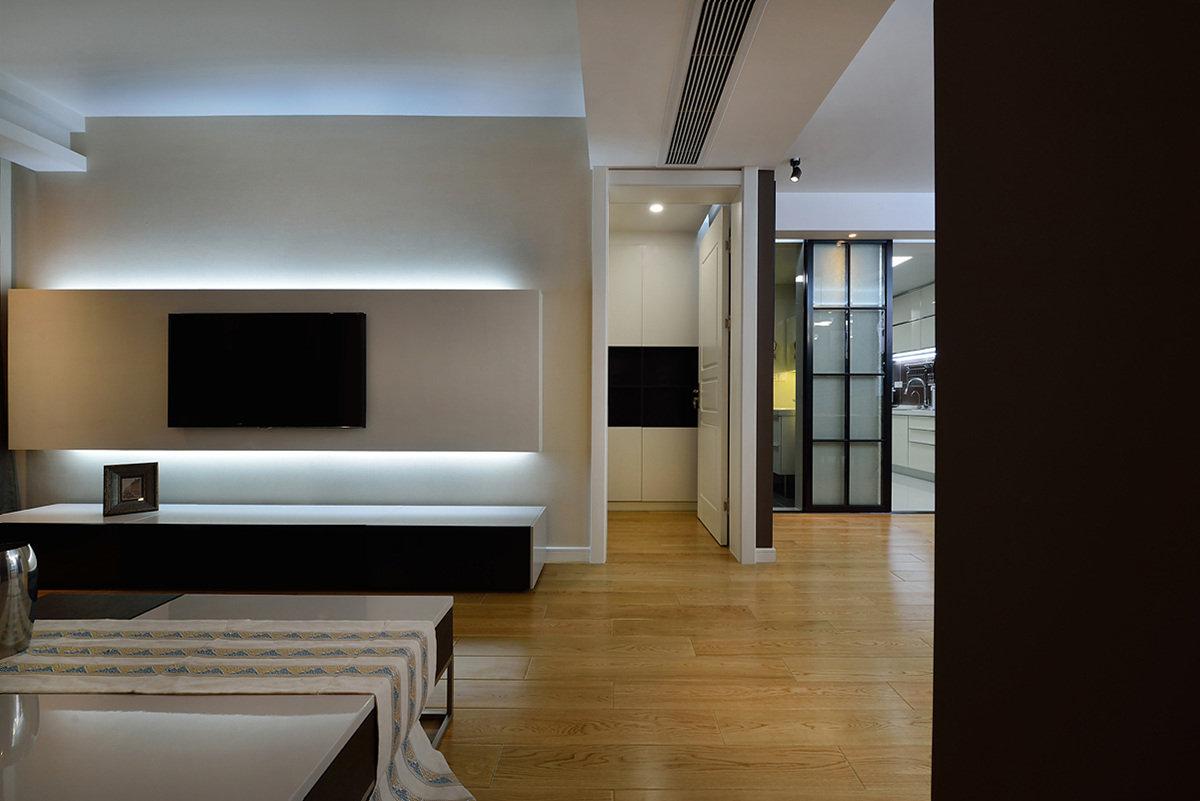 黑白时尚简约电视背景墙效果图