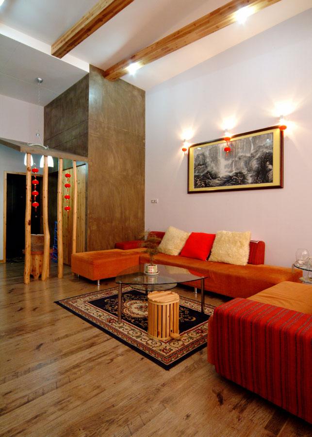 中式田园风格客厅布置效果图