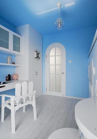 蔚蓝简约复式家装书房背景墙设计装潢美图