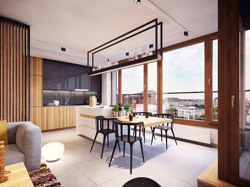 精致现代北欧风格餐厅吊顶效果图