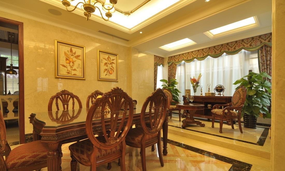 奢华欧式古典餐厅微晶石背景墙设计欣赏