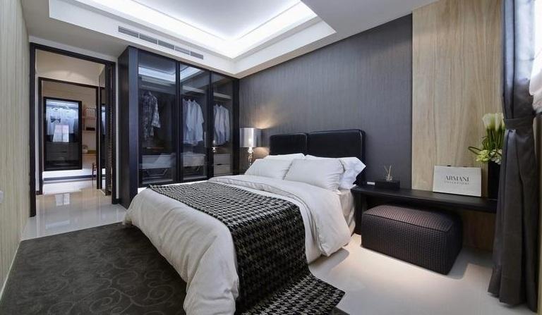 现代简约设计卧室玻璃衣柜效果图