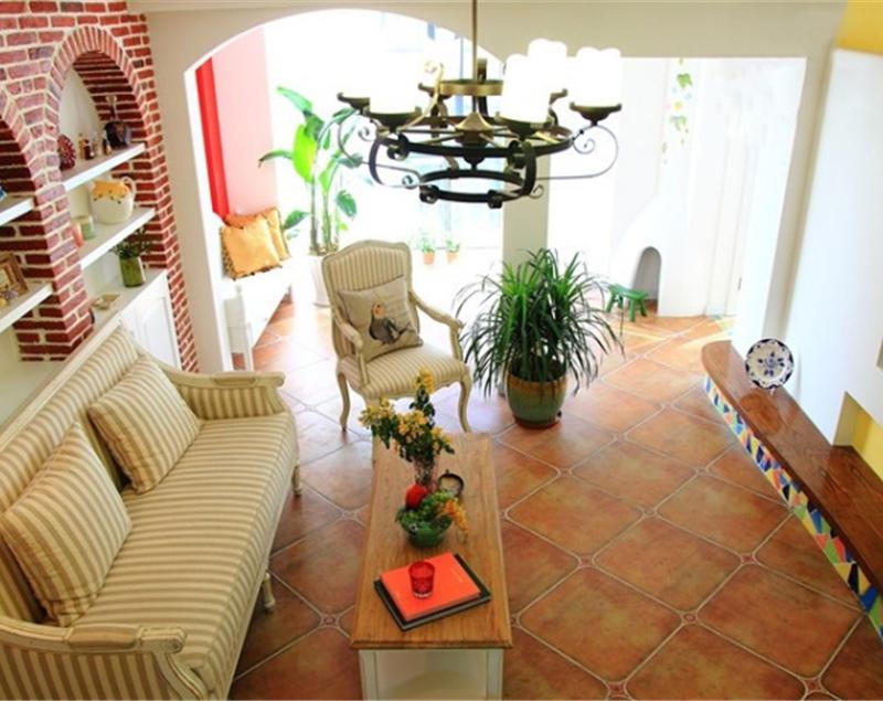 75平田园地中海两室两厅室内装潢效果图