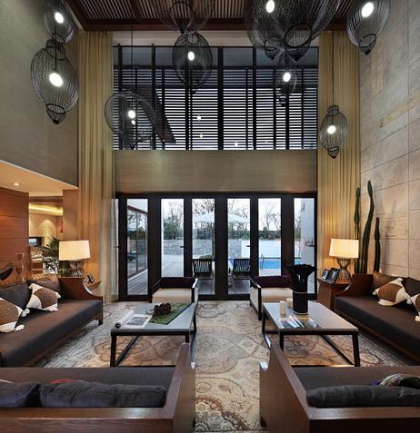 前卫时尚现代风格别墅设计挑高吊顶图片