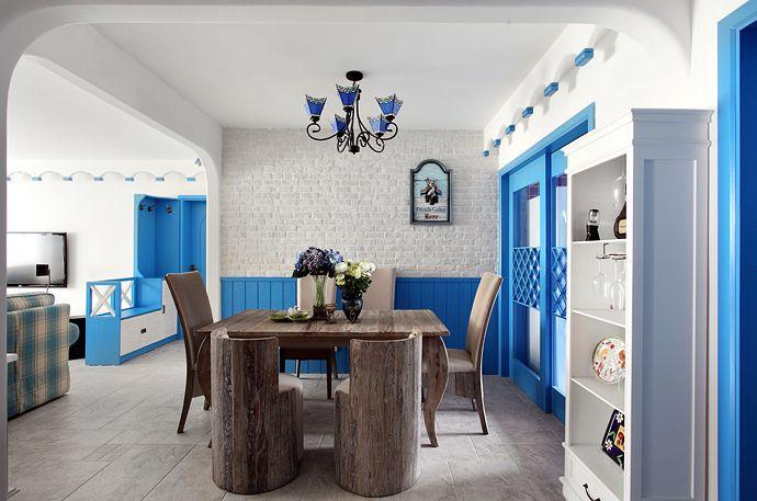 浪漫蓝白色地中海风格家居餐厅背景墙装修效果图