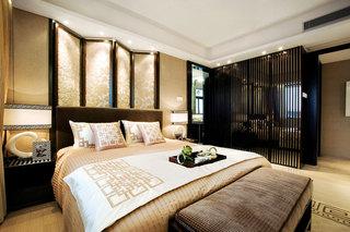 古典雅致新中式卧室床头屏风效果图