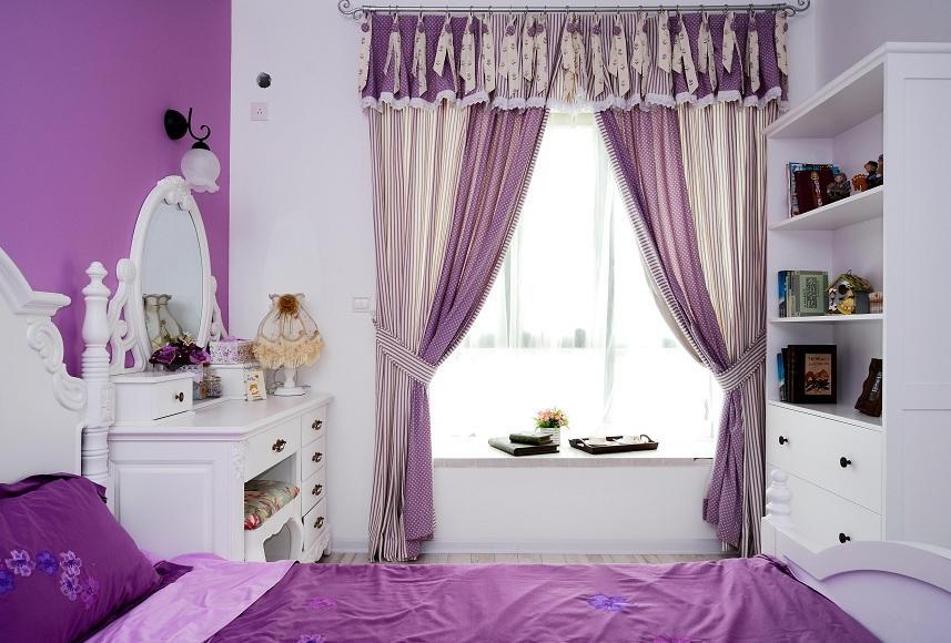 紫色田园设计风格卧室飘窗效果图