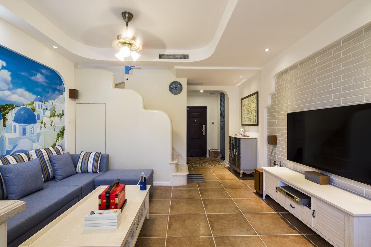 蓝白地中海风格复式室内装潢案例