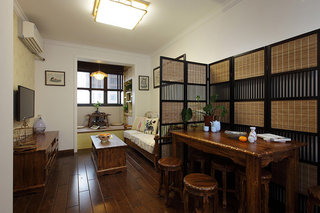 48平原木中式复古风一居室小户型效果图