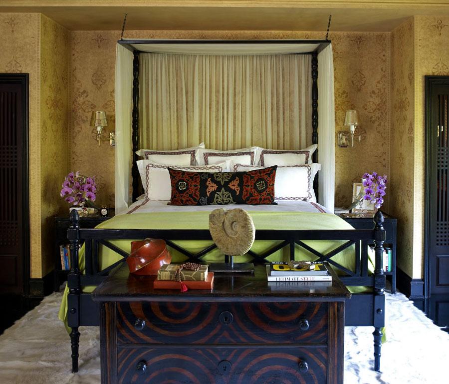 复古美式风格别墅卧室床头设计装潢图片