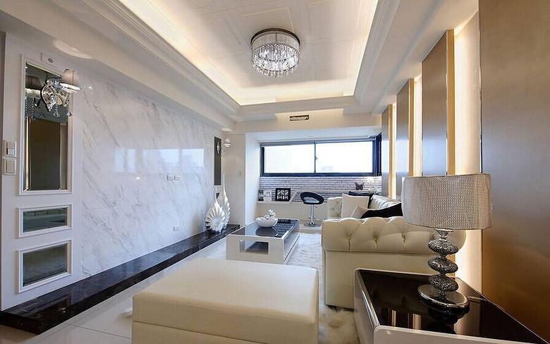 白色明亮简欧客厅大理石背景墙效果图