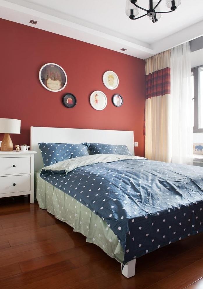 大胆美式现代设计风格卧室油漆背景墙效果图