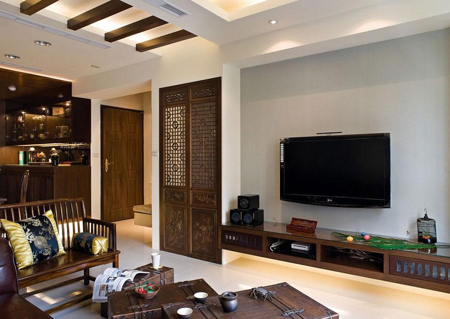 中式风格雅致客厅电视背景墙效果图