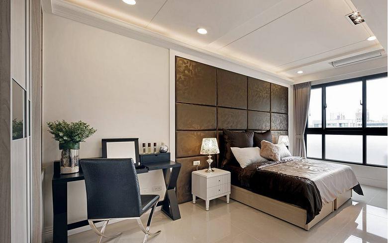2015现代欧式风格卧室床头软包装潢效果图