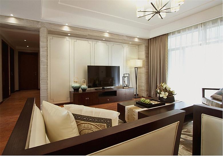 时尚简中式客厅电视背景墙效果图