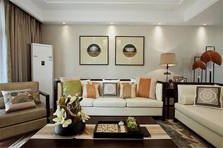现代简中式风格客厅装饰效果图