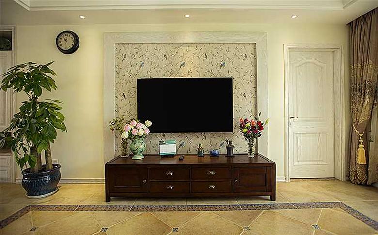 美式碎花电视背景墙装潢效果图