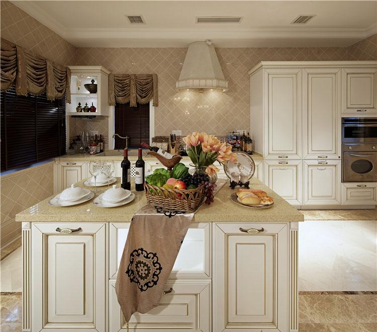 经典美式厨房白色吧台效果图