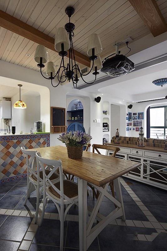 地中海混搭餐厅吊顶效果图
