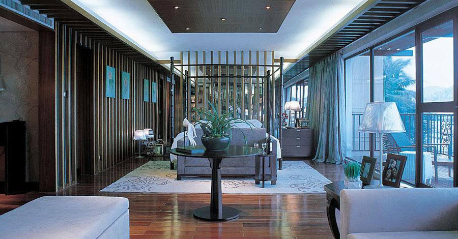质感高端现代室内客厅隔断效果图