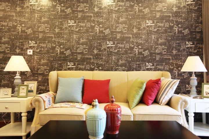 艺术美式风格客厅沙发背景墙效果图
