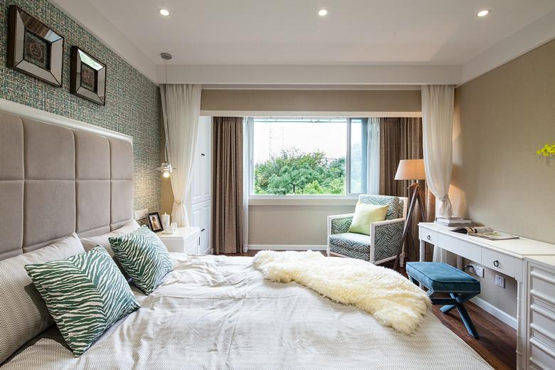 时尚简约美式风格卧室帷幔隔断效果图