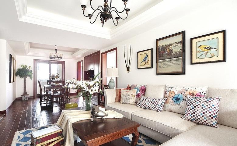 时尚混搭怀旧美式三居室家装设计案例图