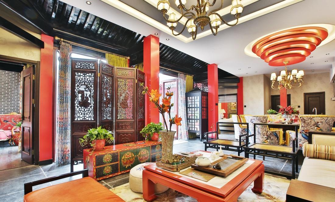红色靓丽新中式风格四合院家居装修效果图