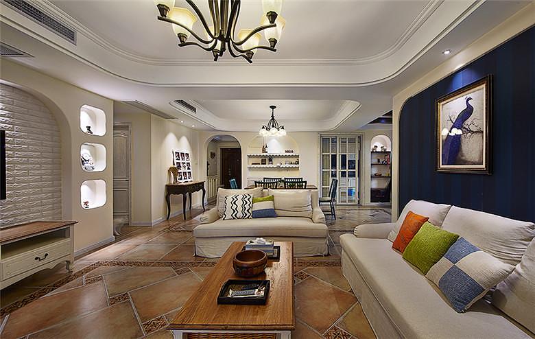 108平美式悠闲三居家装设计效果图