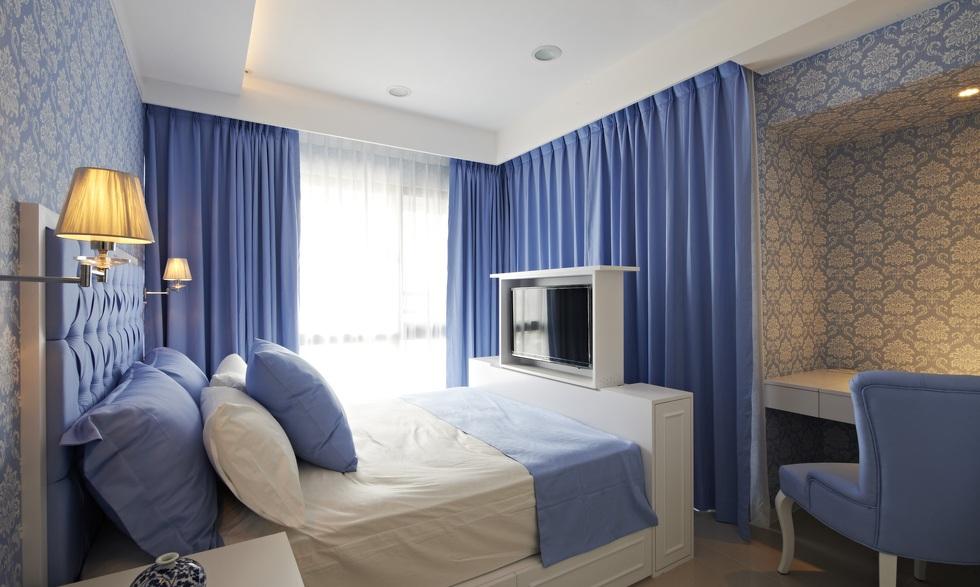 蓝色清新简约卧室效果图