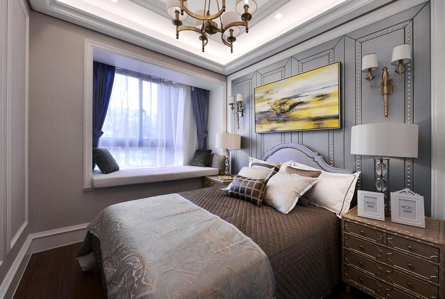 低奢简欧风格卧室背景墙装修效果图