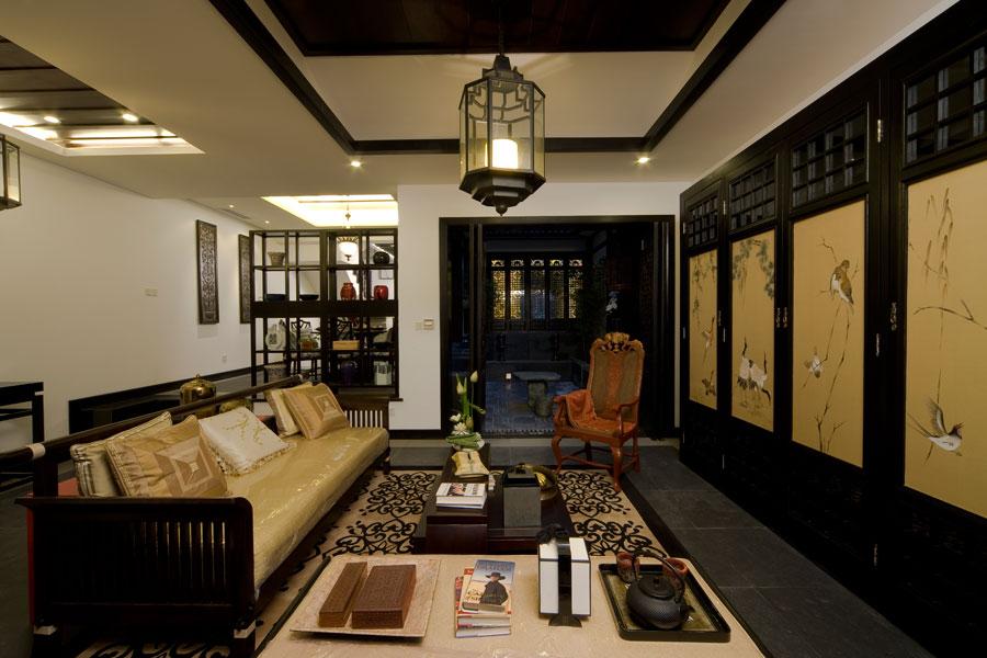 黑色深韵中式风格小别墅室内设计装修图