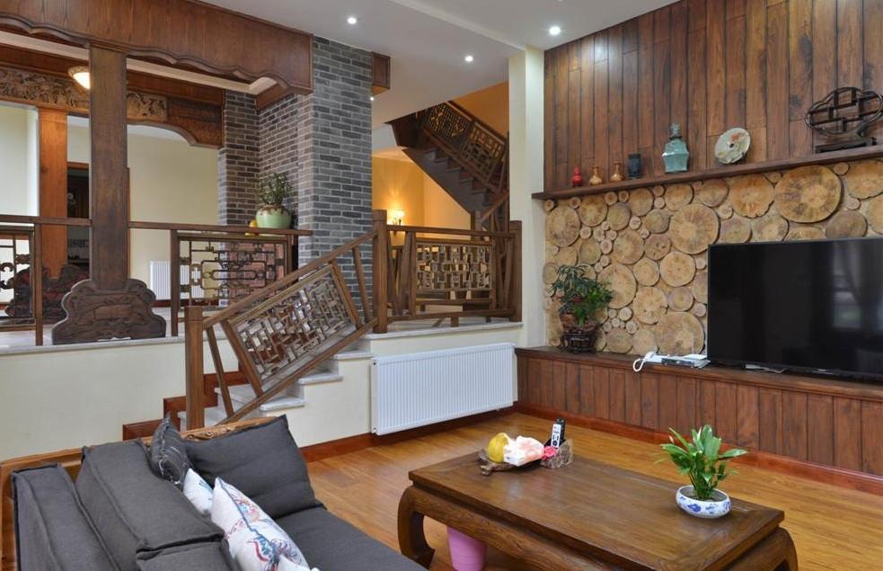 精致典雅中式跃层客厅楼梯效果图