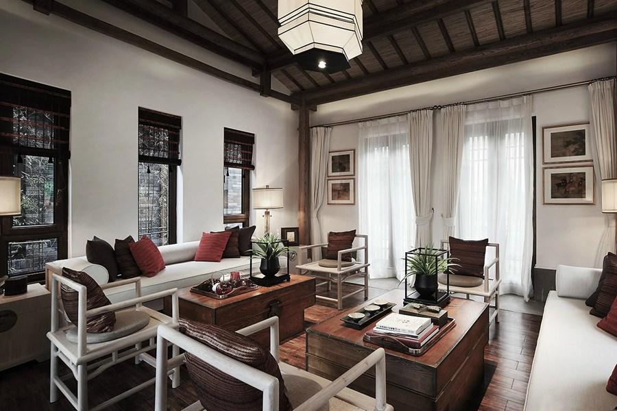 高贵典雅新中式挑高客厅效果图
