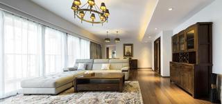 宽敞简中式风格三室一厅设计装修图