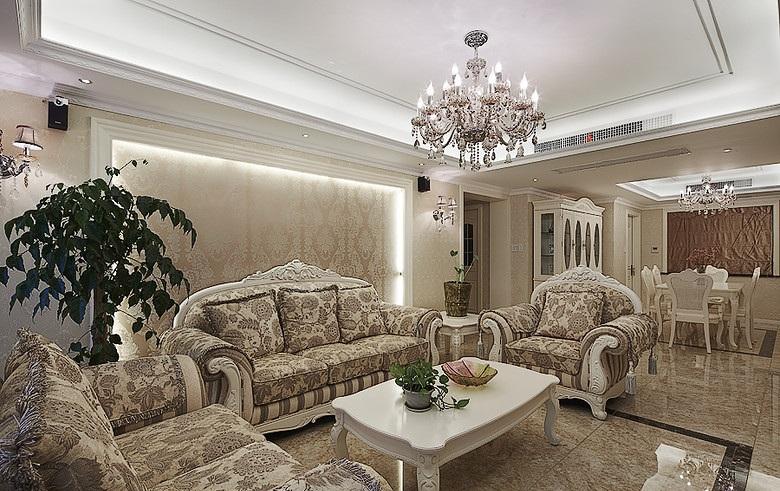 丰裕华丽复古欧式三室两厅室内装潢欣赏图
