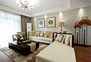 110平米复古简中式三居室装修设计图