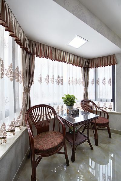 幽静中式风休闲阳台窗帘图片
