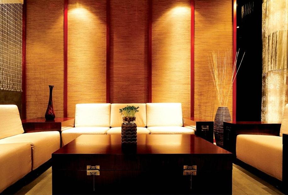 红色艳丽后现代风格客厅背景墙装修效果图片