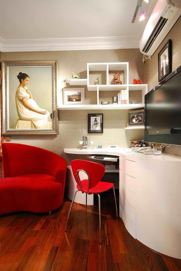 时尚混搭家装书房不规则电脑桌设计效果图