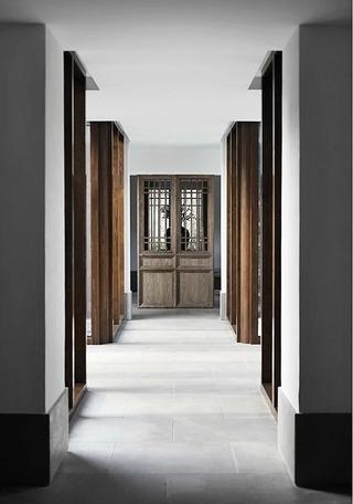 复古素雅中式家装过道实木阴角线效果图