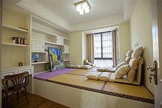 美式家装书房地台榻榻米设计效果图